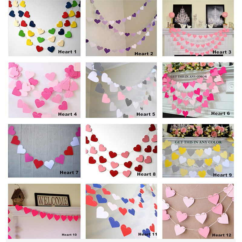 1M Heart-shaped Garland Lantern 2pcs Paper Garlands Party Events Wedding Birthday Decorations Photo Props D