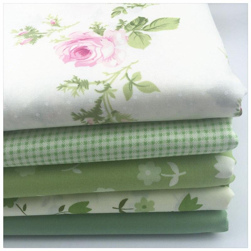 5 UNIDS 40*50 CM Verde Vestido Estampado floral Tela de Algodón para El Paño Del