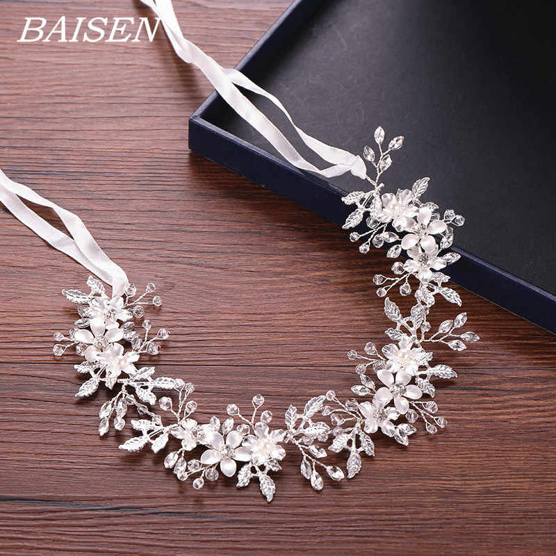 Bridal Flower Wedding Headband Silver Leaf Rhinestone Bride Hairband Floral Headband Wedding Hair Accessories Headpiece