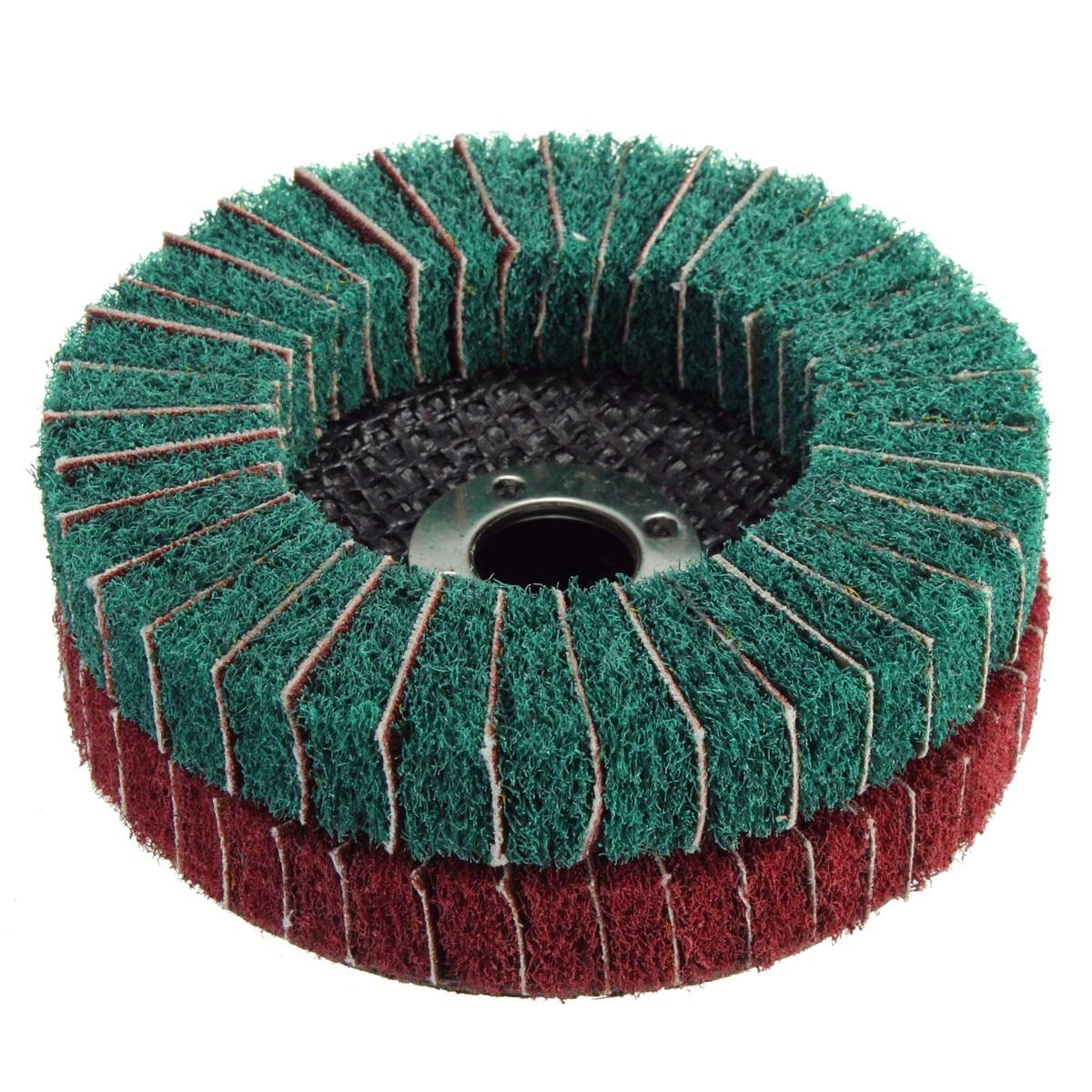 180 Grit Nylon Fiber Flap Wheel Disc 100mm x 16mm Abrasive Polishing Buffing Pad