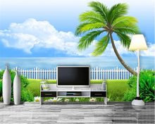 beibehang High - definition balcony creative fashion wallpaper scenery palm trees indoor interior wall 3d papier peint