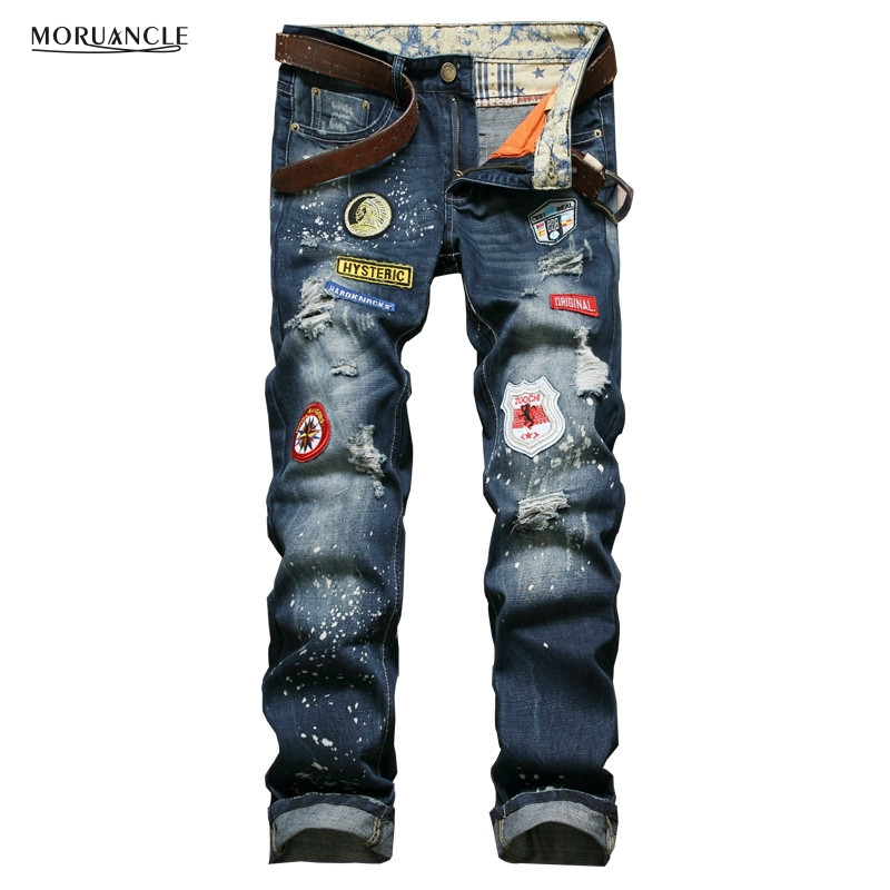 Brand Designer Mens Denim Pants With Patches Slim Fit Ripped Jeans Joggers For Man Distressed Jean Trousers Patchwork Straight fashion mens brand ripped jeans 100% cotton famous brand designer mens jeans patchwork mens distressed patchwork jeans q1730