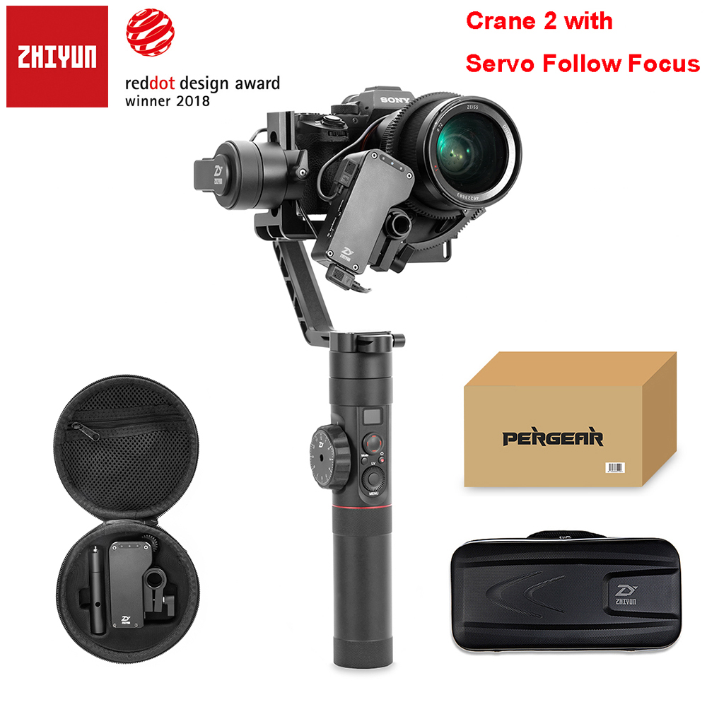 Zhiyun Crane 2 3 axes sans balai poignée stabilisateur de cardan avec suivi mise au point à distance pour Sony caméra charge utile 3.2Kg OLED affichage
