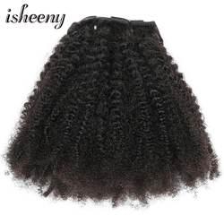 """Isheeny 8 шт./компл. афро кудрявый вьющиеся волна клип человеческого волоса в волос 12 """"-20"""" Natural Цвет 120g среднем толстом Волосы remy"""