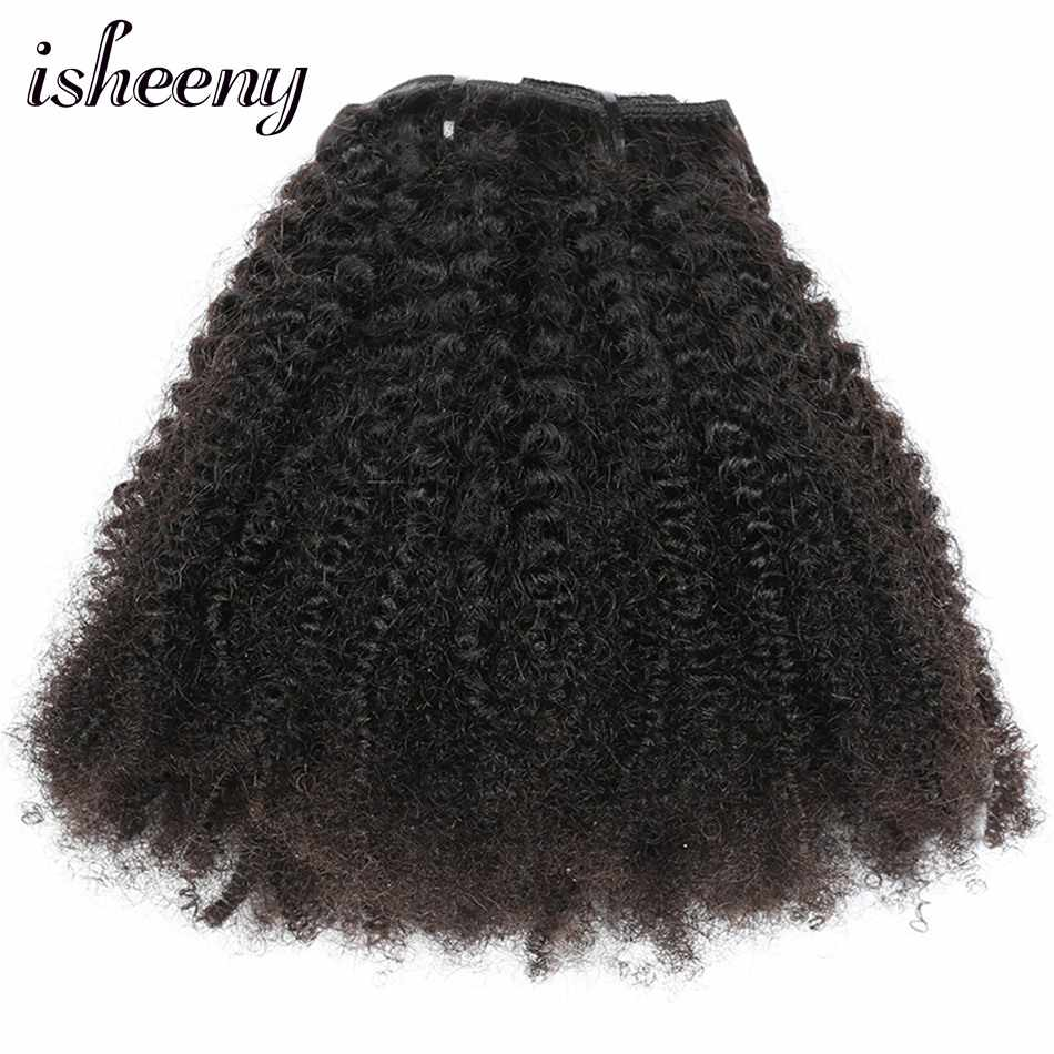 "Isheeny 8pcs/set Afro Kinky Curly Wave Human Hair Clip In Hair Extensions 12""-20"" Natural Color 120g Remy Hair"