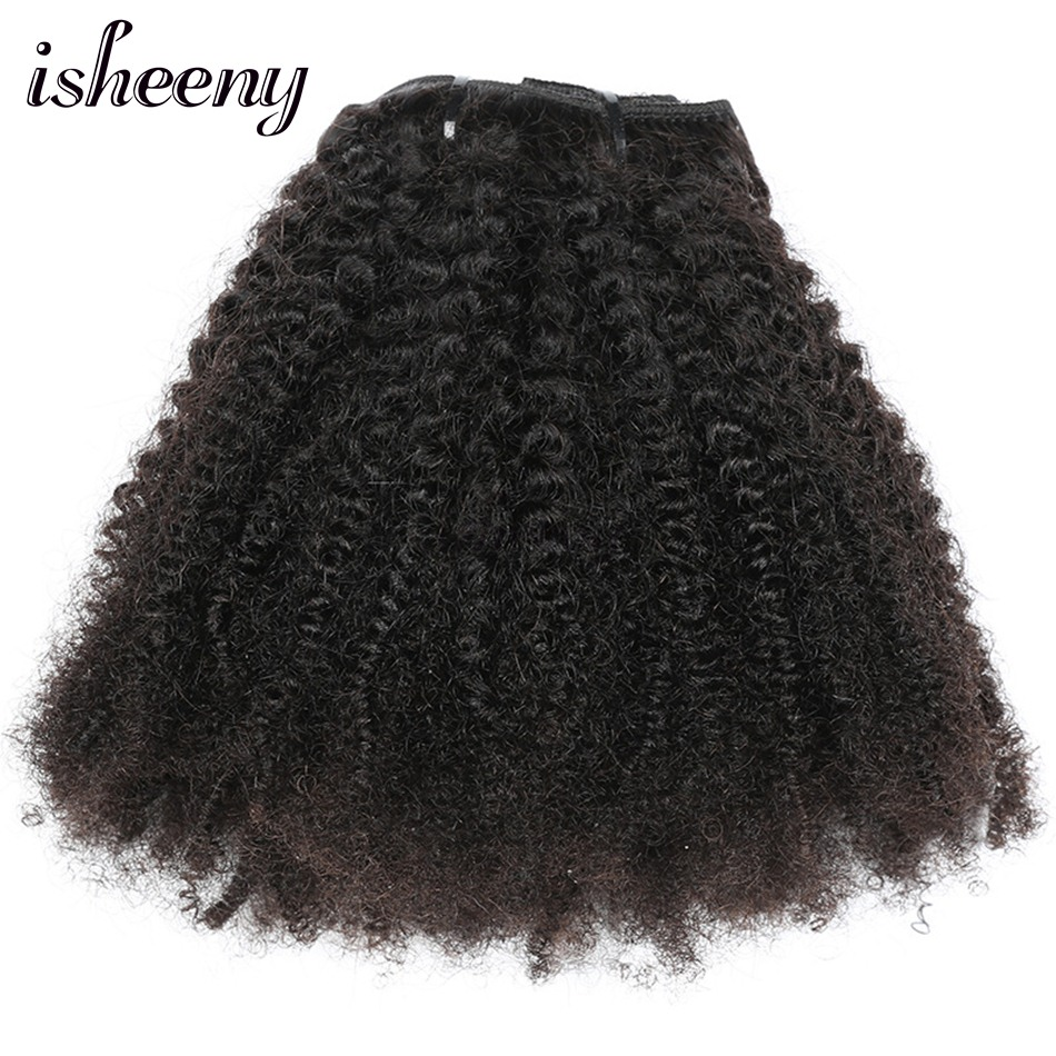 Hair Extensions Isheeny 8pcs/set Afro Kinky Curly Wave Human Hair Clip In Hair Extensions 12-20 Natural Color 120g Middle Thick Remy Hair