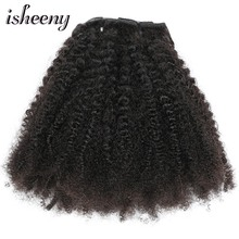 Isheeny 8pcs/set Afro Kinky Curly Wave Human Hair Clip In Hair Extensions 12″-20″ Natural Color 120g Remy Hair