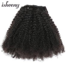 "Isheeny 8pcs/set Afro Kinky Curly Wave Human Hair Clip In Hair Extensions 12""-20"" Natural Color 120g Middle Thick Remy Hair(China)"
