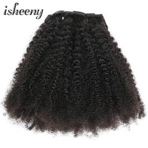 Isheeny Clip-In Hair-Extensions Remy-Hair Afro Curly Kinky Natural-Color Thick Wave 12-20-120g