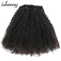Isheeny 8pcs/set Afro Kinky Curly Wave Human Hair Clip In Hair Extensions 12 20 Natural Color 120g Remy Hair