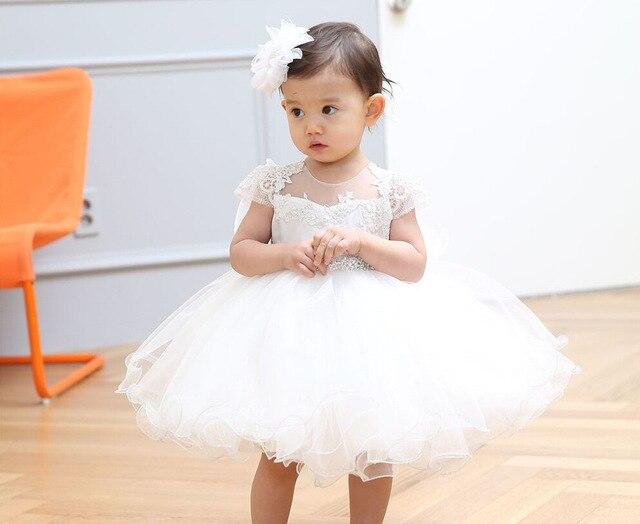 Летом 1 Года Девочка День Рождения Dress Кот Крещение Dress Ребенка балетной пачки Свадебные DressInfant Flower Girl Dress Крещение