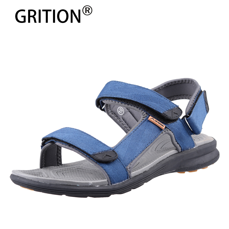GRITION Outdoor Sandals For Men Outdoor Summer Beach Shoes Quick-drying Lightweight Leather Hiking Shoes Garden Men Sneakers