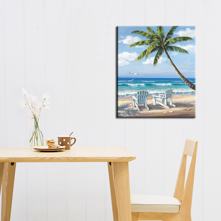 Home & Garden Punctual High Skilled Artist Handpainted High Quality Summer Landscape Beach Sea And Beach Chair Oil Painting On Canvas For Decorations Customers First