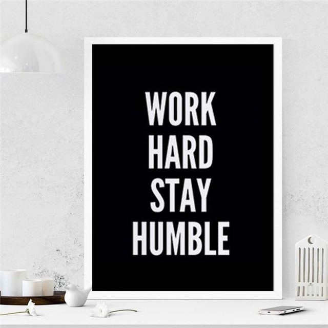 Nordic Minimalist Typography Motivitional Quotes Work Hard Stay Humble Art Canvas Prints Wall Picture Posters