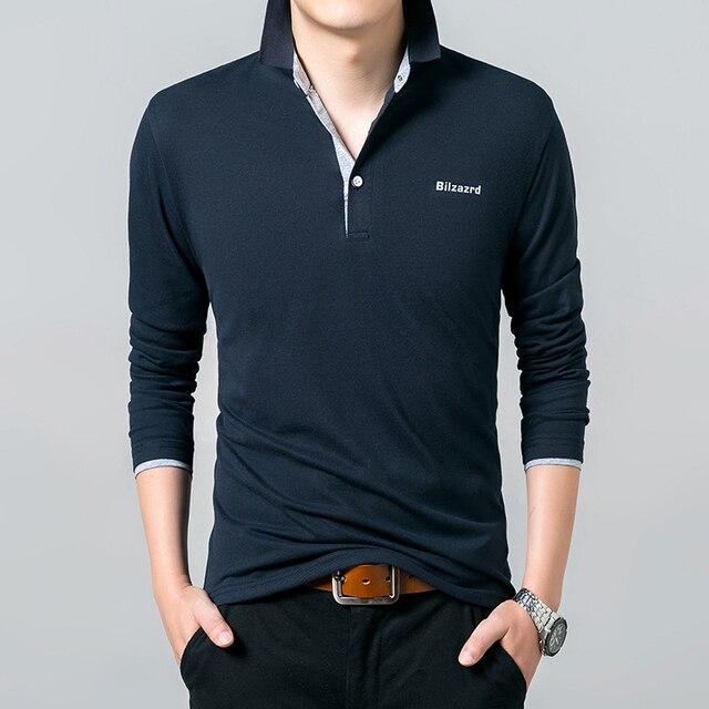 Темно-Синий С Длинным Рукавом Мужчины Повседневная рубашки Поло Новые Печати сплошной Цвет Плюс размер человек Поло рубашки M-XXXL Бизнес Встроенная пуловер