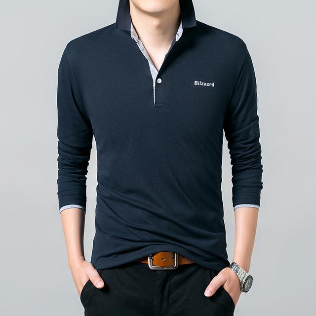 Azul marino de Manga Larga de Los Hombres camisas de Polo Ocasional Más Reciente de Impresión Color sólido Más El tamaño hombre Polos camisa M-XXXL Negocio Montado Pullover