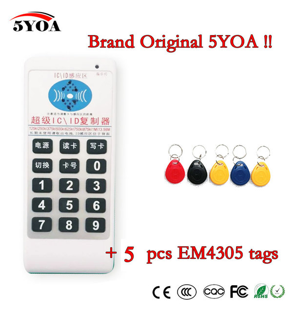 5YOA Handheld 125 Khz 13.56 MHZ frequentie toegang RFID ID IC Card Duplicator Reader Schrijven Copier + 5 stks 125 KHZ EM4305 tags