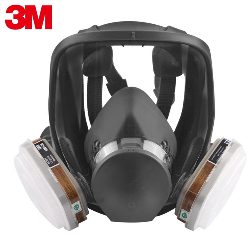 3M Full Facepiece Chemical Respirator Mask with 6001 Gas Cartridges Anti-Organic Vapor Acid Gas Ammonia Hydrogen 7 In 1 Set 3m 6800 full facepiece reusable face mask with 6001 gas cartridges anti organic vapor 7 items for 1 set lt100