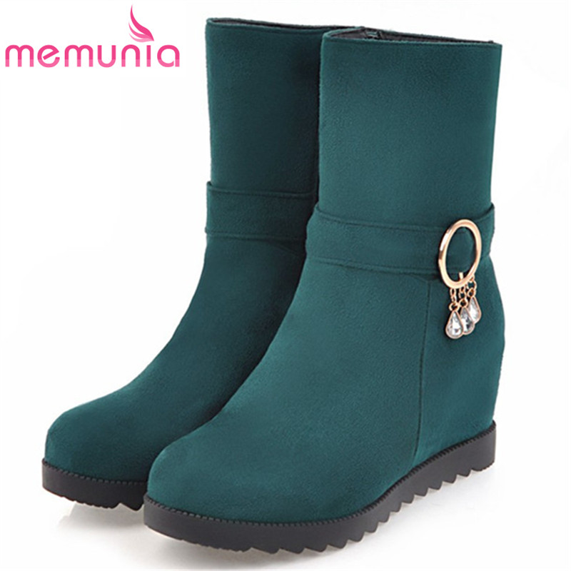 MEMUNIA Height increasing shoes woman in spring autumn ankle boots for women PU nubuck leather fashion boots female solid zip e toy word fashion ankle boots women spring autumn shoes women lace up solid boots female height increasing platform botas mujer