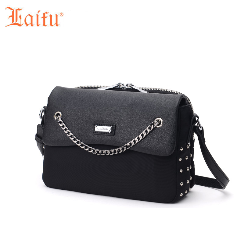 Laifu Fashion Women Nylon Messenger Bag  Handbag Ladies Small Crossbody Shoulder Bag Designer Chain Rivet Decoration, Black