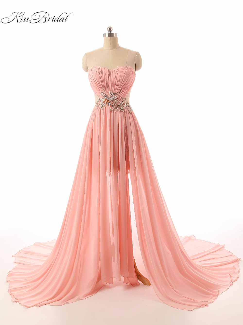 2017 New Fashion High Split Prom Dresses Robe De Soiree Beaded Sweetheart Sleeveless Sweep Train Formal Evening Party Gown