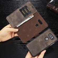 ل LG G6 G7 ThinQ V20 V30 الجلود حامل المحفظة المغناطيسي للإزالة فتحة للبطاقات الغلاف