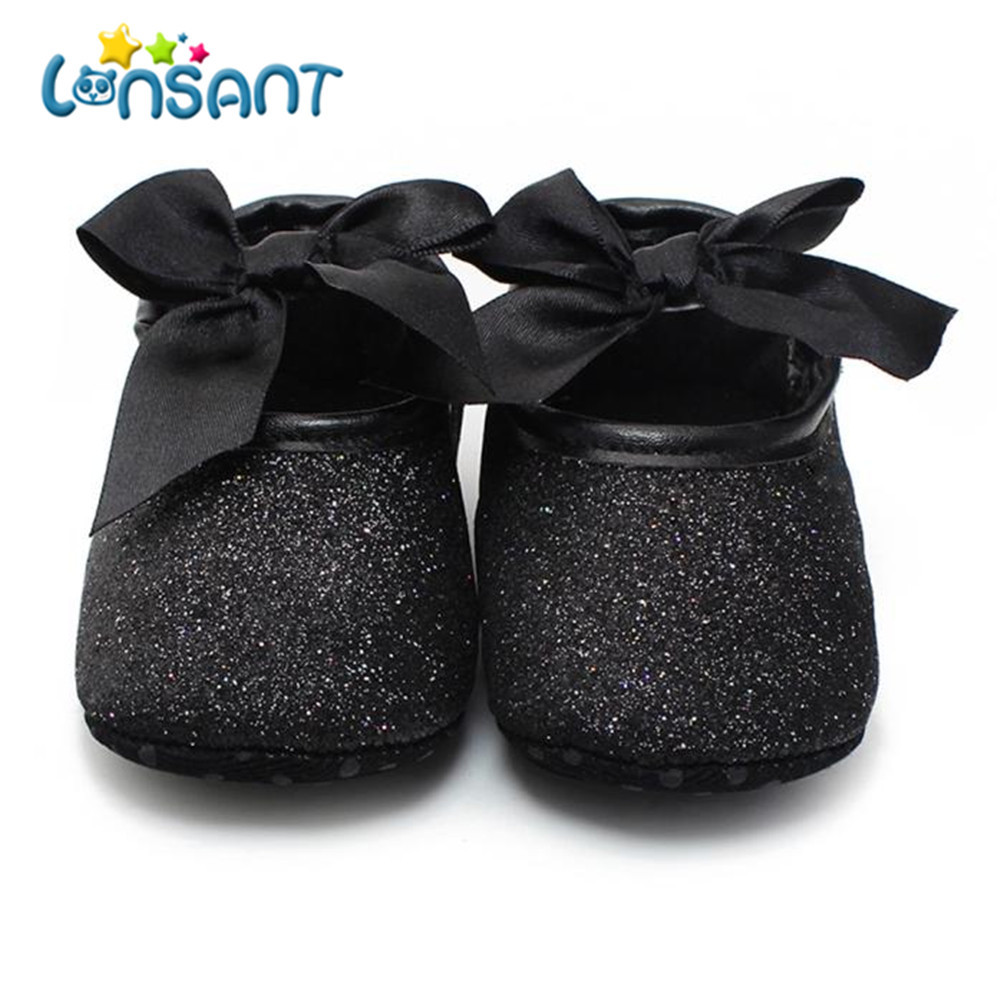LONSANT Newborn Glitter Baby Shoes Sneaker Anti-slip Soft Sole Toddler PU Leather baby s ...