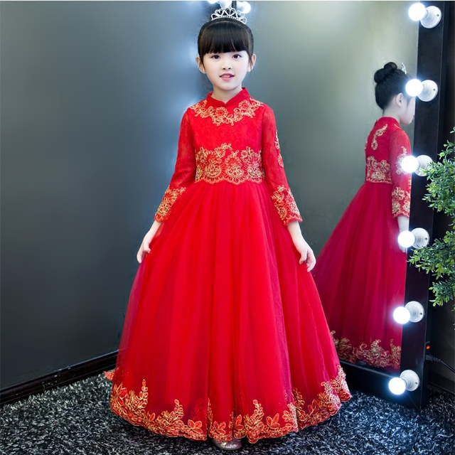 2017 Autumn Winter Formal Lace Red Dress Long Sleeve Party Princess