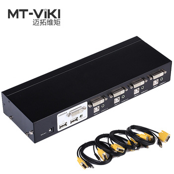 Mt-Viki 4 Port DVI Switch KVM Switch with Audio Auto Hotkey Switcher Mouse Keyboard 4 PC 1 Monitors with Original Cable 2104DL