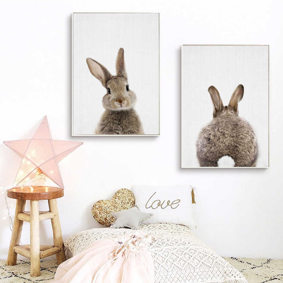 Kawaii Animals Cartoon Canvas Painting Cute Rabbit Bunny Posters Prints Nordic Nursery Wall Art Picture Kids Room Home Decor