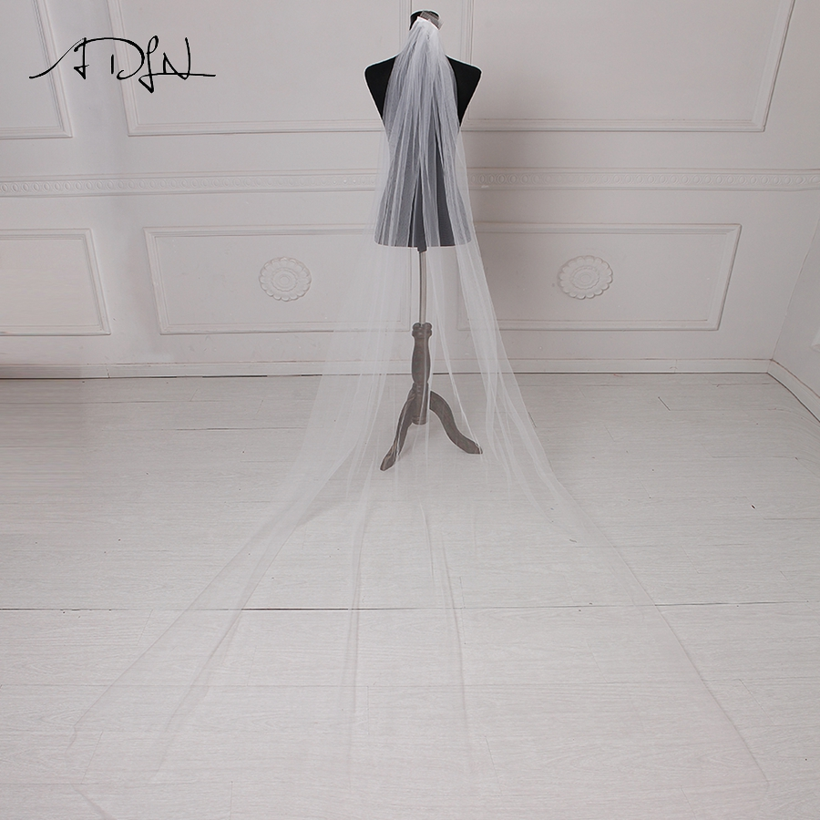ADLN Cheap White/ Ivory Bridal Veils 3 Meters Long Cathedral Wedding Veil