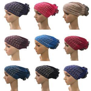 Мусульманские женщины под шарф горный хрусталь тюрбан ЦВЕТОК выпадение волос Кепка chemo исламский головной платок арабский чепчик бини шапк...