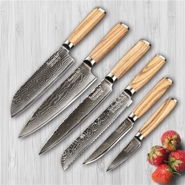 delightful Zebra Kitchen Set Part - 3: SUNNECKO 6PCS Damascus Kitchen Knife Set Japaness VG10 Steel Santoku  Utility Bread chef knife Zebra Wood
