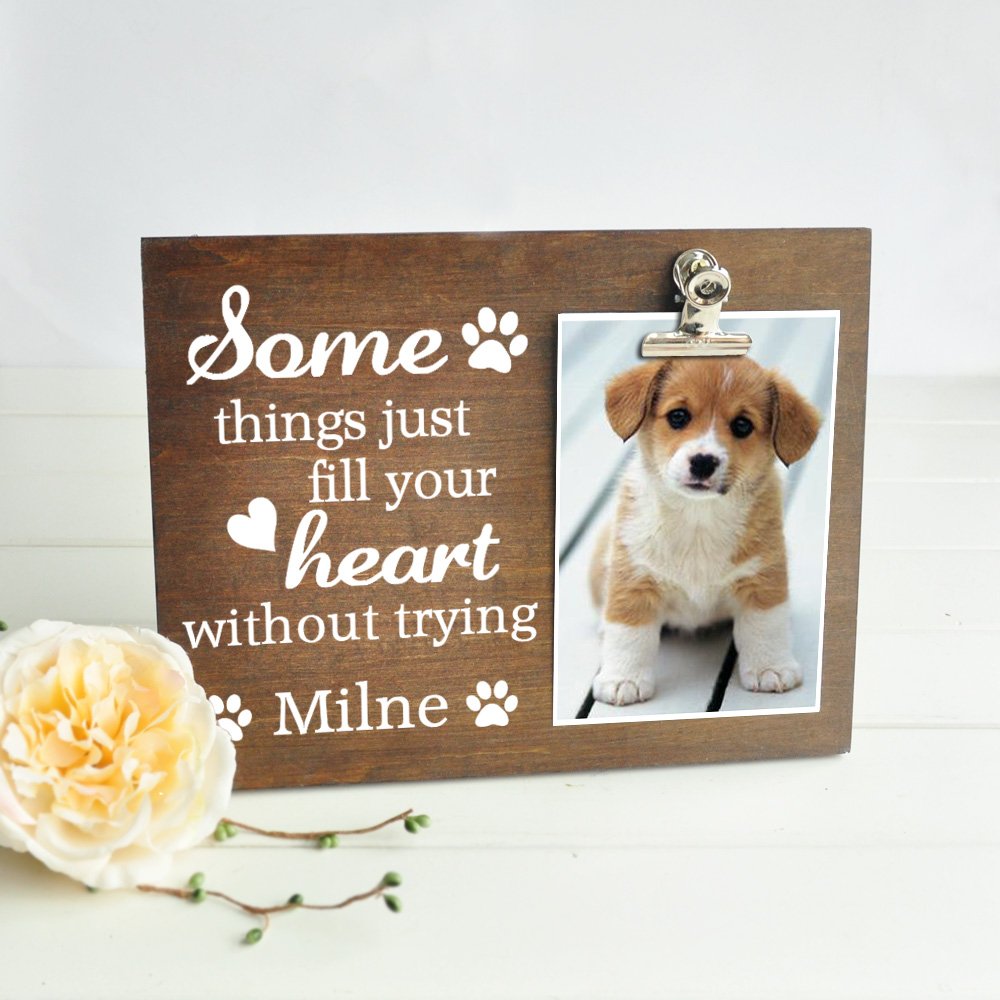 Personalized Wood Photo Board Picture Clip Pet Picture Frame Pet Lover Gift Pet Rescue Photo Frame