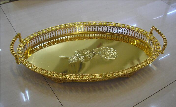 5030cm large size home storage supplies metal fruit basket oval gold decorative serving trays - Decorative Serving Trays