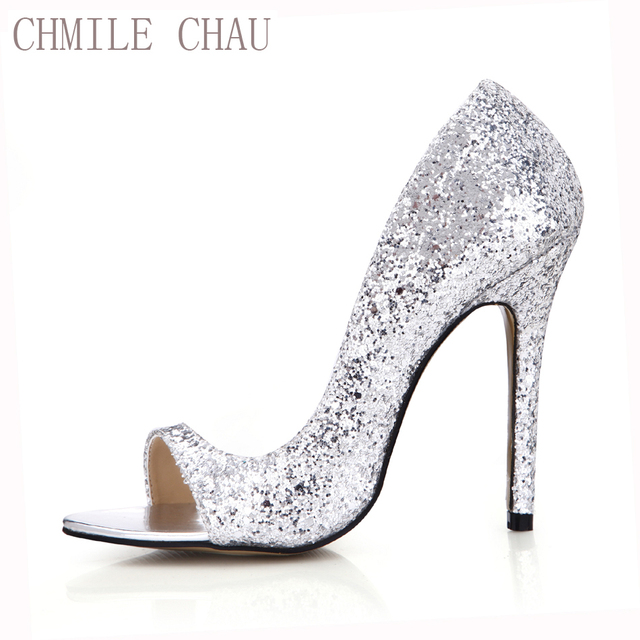 32a21270be7 CHMILE CHAU Gold Glitter Sexy Wedding Party Women s Shoes Peep Toe Stiletto  High Heel Pumps Big Sizes Zapatos Mujer 0640C-Q2