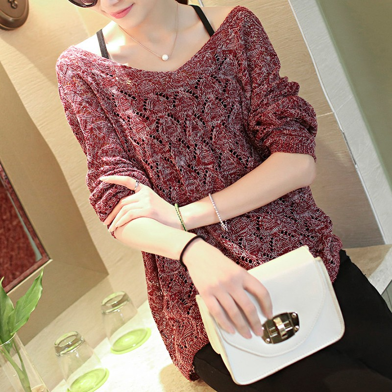 2016 New Fashion Women Autumn Pullovers Hollow Out Basic Knitted Sweaters Loose Batwing Knitwear Crochet All Match gray red