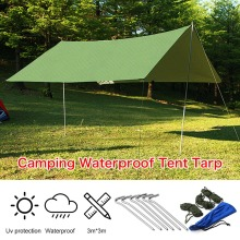 3mx3m Army Green Sun Shelter Rain Tarp Survival Camping Climbing Patio Waterproof Sun Shade Outdoor Awning Canopy Garden tent
