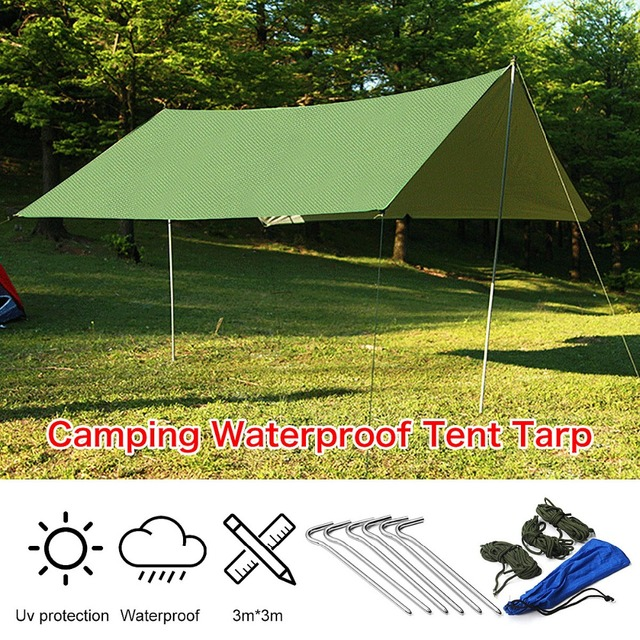 3mx3m Army Green Sun Shelter Rain Tarp Survival Camping Climbing Patio  Waterproof Sun Shade Outdoor Awning
