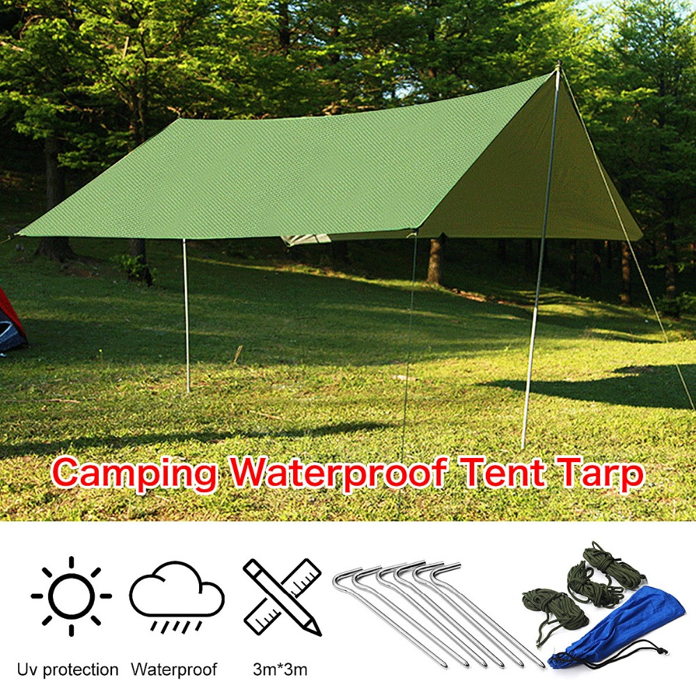Rain Tarp Shelter Sun Sunshade Awning Canopy Beach Camping Waterproof Tent Cover 10x10ft Army Green yp100200 100cmx200cm 100x300cm 100x600cm door canopy window awning for balcony garden gazebo patio cover sun shape rain shelter