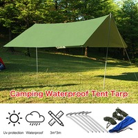 Rain Tarp Shelter Sun Sunshade Awning Canopy Beach Camping Waterproof Tent Cover 10x10ft Army Green