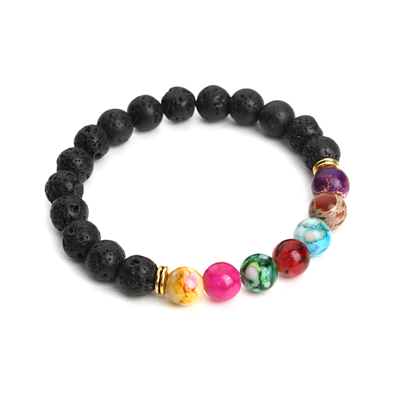Muti-color Design Mens Bracelets Black Lava 7 Chakra Healing Balance Beads Bracelet For Men Women Pulseras Drop Shipping F3770