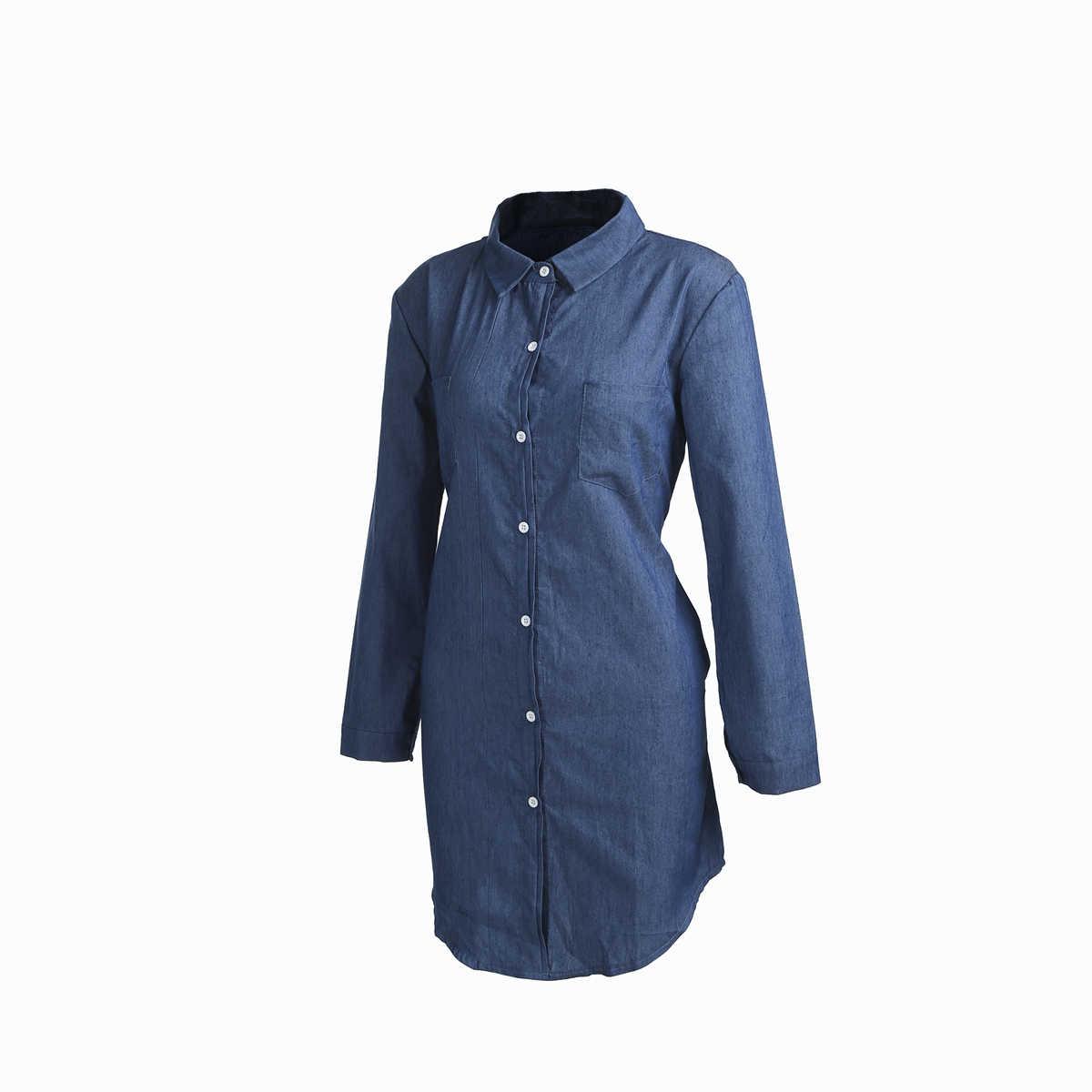 Популярное женское джинсовое платье на пуговицах; сезон весна-лето; повседневное мини-платье-рубашка с длинными рукавами; свободная одежда с карманами на пуговицах; новый дизайн; повседневная одежда для девочек