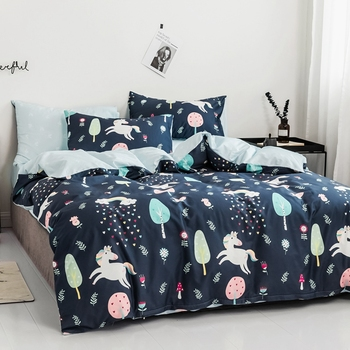 Cartoon pattern Bedding set for comforter 100% cotton Double queen king flower soft and comfortable blue pink bed linens set