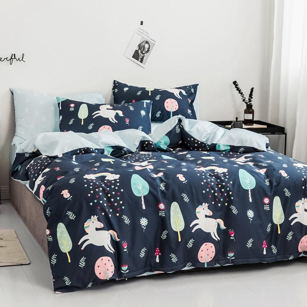 Ensemble de literie motif Cartoon pour couette 100% coton Double reine roi fleur doux et confortable bleu rose linge de lit ensemble
