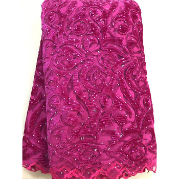Latest African Lace Fabric High Quality African Tulle Lace Fabric With Sequins Velvet French Net Lace Nigerian Laces Fabrics