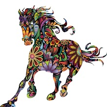 New 3D cartoon wall sticker Pentium pattern horse PVC removable floor waterproof stickers Decorative paintings wallpaper цена