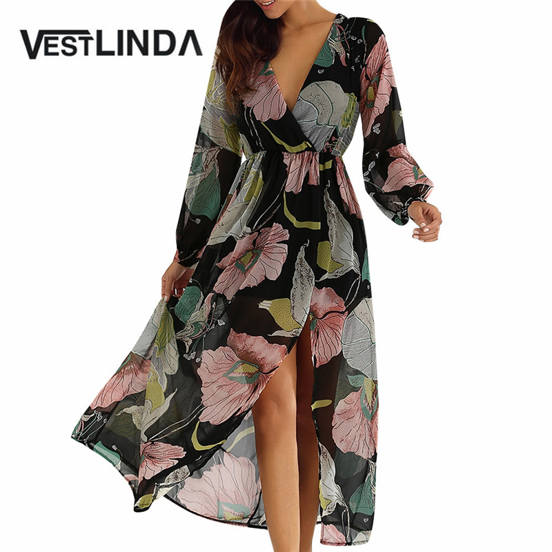 VESTLINDA Ocasional de la Impresión Floral Vestido de Verano Las Mujeres Sexy Cu
