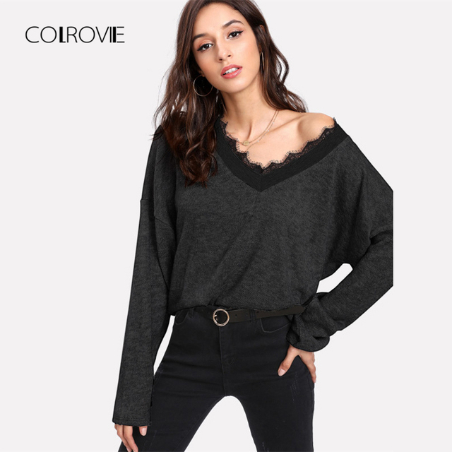 40ace02fbe COLROVIE Black Solid Eyelash Lace Casual Knitted Sweater 2018 Autumn Green  V Neck Women Jumper Pullovers