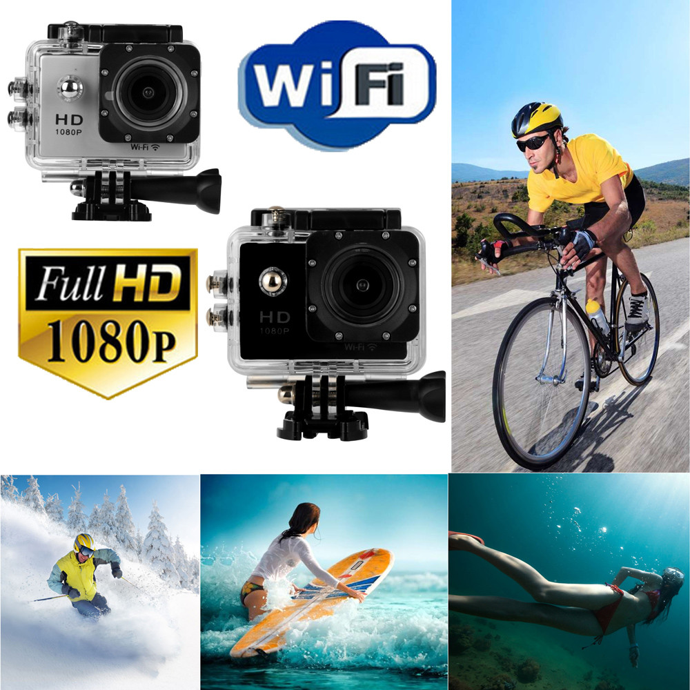 лучшая цена Wifi 12MP HD 1080P Car Bike Helmet Cam Sports DV Action Waterproof Camera